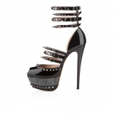 Women's Black Rivets Stiletto Heels Ankle Strap Sandals Stripper Shoes