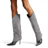 Grey Suede Stiletto Boots Pointed Toe Knee High Boots