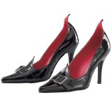 Women's Black Buckle Witch Costumes Halloween Stiletto Heels Pumps