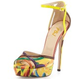 Yellow Floral Heels Platform Sandals Peep Toe Ankle Strap Sandals