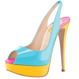 Light Blue Patent Leather Slingback Pumps Peep Toe Chunky Heel Pumps