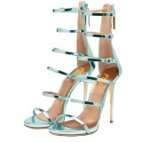 Light Blue Stiletto Heels Mirror Leather Open Toe Sandals