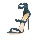 Navy Open Toe Stiletto Heels Waves Pattern Ankle Strap Sandals