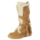 Khaki Vintage Boots Strappy Tassels Snow Boots for Winter