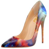 Red Sunset Glow Floral Heels Pointy Toe Pumps 5 Inches Stiletto Heels