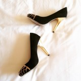 Black and Gold Stiletto Heels TPU Almond Toe Suede Pumps