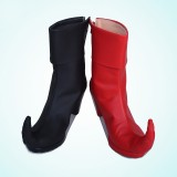 Harley Quinn Red&Black Contrast Color Clown Chunky Heel Boots