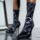 Black Lycra Sock Boots Chains Print Pointy Toe Fashion Mid Calf Boots