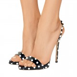 Black and White Heels Polka Dots Stiletto Heels Slingback Sandals