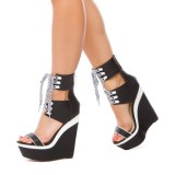 Black and White Heels Wedge Sandals Open Toe Lace up Sandals