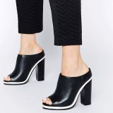 Black and White Mule Heels Peep Toe Chunky Heels for Office Lady