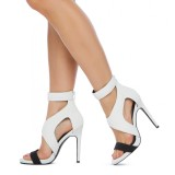 Black and White Stiletto Heels Open Toe Elegant Summer Boots