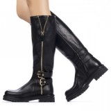 Black Buckles Zipper Textured Vegan Leather Low Heel Riding Knee Boots