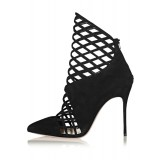 Black Caged Cut out Ankle Booties Pointy Toe Stilettos Summer Boots