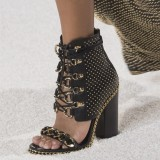 Black Chain and Studs Chunky Heel Sandals Metal Lace up Sandals