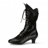 Black Lace Wingtip Boots Front Lace up Vintage Mid Calf Witch Boots