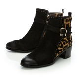 Black Leopard Print Fashion Boots Comfortable Almond Toe Ankle Boots