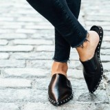 Black Flat Loafer Mules