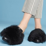 Black Fur Loafer for Women Round Toe Mule