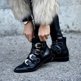 Black Motorcycle Boots Studded Buckles Round Toe Ankle Booties