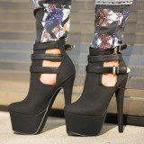 Black Suede Platform Boots Three-Strap Cut out Ankle Boots
