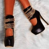 Black Platform Stripper Heels Gold Chains Stilettos Ankle Strap Pumps