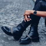 Black Retro Round Toe Chain Chunky Heels Ankle Booties