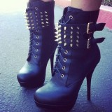 Black Rivets and Buckles Lace up Boots Stilettos Platform Ankle Boots
