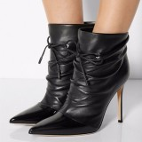Black Stiletto Heels Pointed Toe Lace Up Ankle Slouch Boots for Office Ladies
