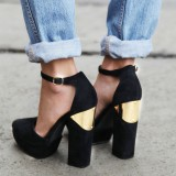 Black Suede Block Heels Almond Toe Platform Ankle Strap Pumps
