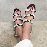 Black Tri Straps Pearls Women's Slide Sandals