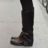 Black Vintage Boots Block Heel Calf Length Boots