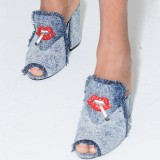 Blue Denim Peep toe Mule Chunky Heel Loafer Mules