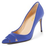 Blue Office Heels Pointy Toe Hollow Out Dress Shoes