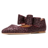 Brown Glitter Bow Pointy Toe Comfortable Flats