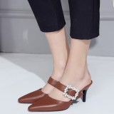 Women's Brown Kitten Heels Crystal Buckle Pointed Toe Slippers Sandals