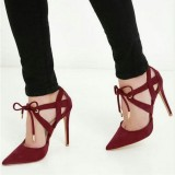 Burgundy Heels Suede Lace up Pointy Toe Stietto Heel Pumps