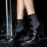 Black Patent Leather Chelsea Boots Stiletto Heel Ankle Boots