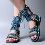 Women's Blue Denim Lace Up Open Toe Strappy Sandals