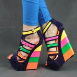 Women's Rainbow Buckles Platform Peep Toe Wedge Sandals Shoes