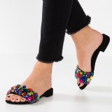 Colorful Rhinestone Women's Slide Sandals Open Toe Flats US Size 3-15