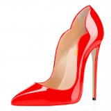 Coral Red Office Heels Stiletto Heels Patent Leather High Heels