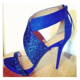 Blue Platform Sandals Cross-over Strap Suede High Heel Shoes