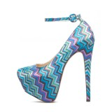Multicolor Floral Almond Toe Platform Stiletto Heels Ankle Strap Pumps