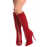 Fashion Red Lace up Boots Peep Toe Suede Boots Stiletto Heels Boots