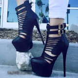 Black Summer Boots Stiletto Heel Platform Sexy Shoes with Buckles