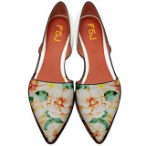 Women's Yellow Floral-print Pointed Toe Slip-on Comfortable Flats
