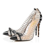 Dark Grey Pointed Toe Transparent Sphere Leopard-print Stiletto Heel Pumps