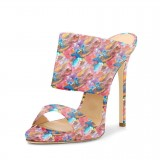 Floral Stiletto Heels Open Toe Mule Sandals by FSJ