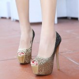 Gold and Grey Glitter Shoes Peep Toe Platform Stiletto Heel Pumps